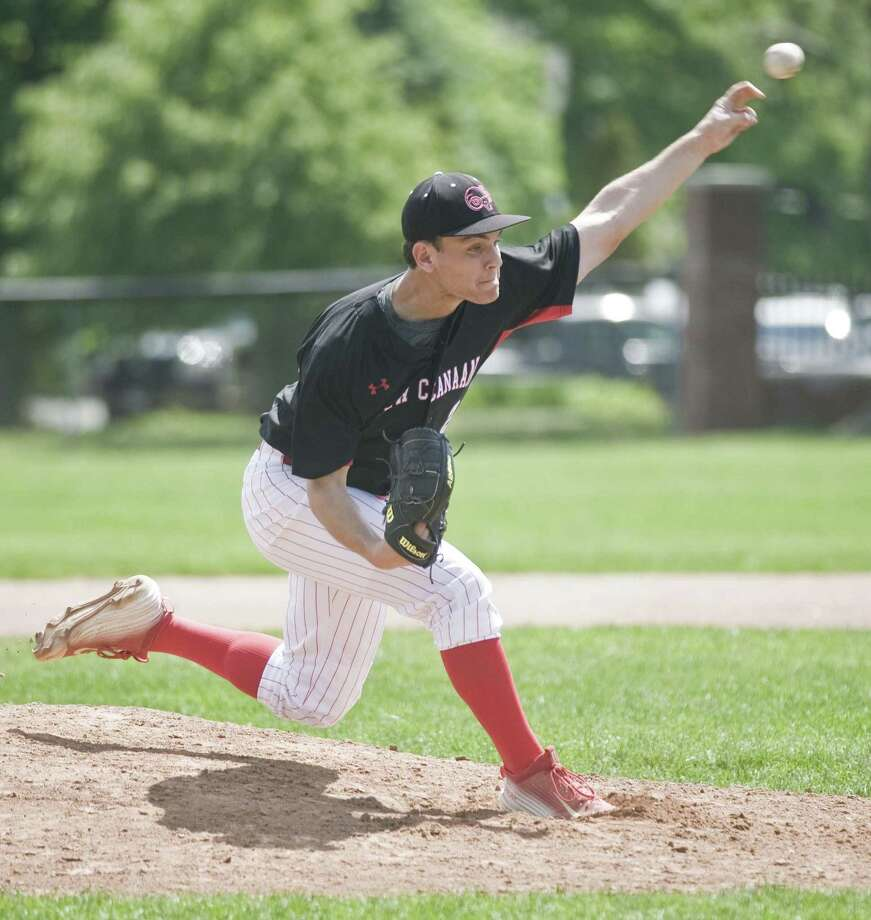 New Canaan High School pitcher Robby Jones fires the ball in a game against Ridgefield High School, played at Ridgefield. Friday, May 19, 2017 Photo: Scott Mullin / For Hearst Connecticut Media / The News-Times Freelance