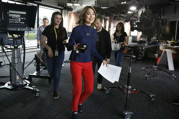San Francisco-based anchor Emily Chang at Bloomberg television on Tuesday, May 16, 2017, in San Francisco, Calif.  Twitter's 24/7 lineup of TV programming launches in the fall partnering with Bloomberg pa to launch a news television venture.
