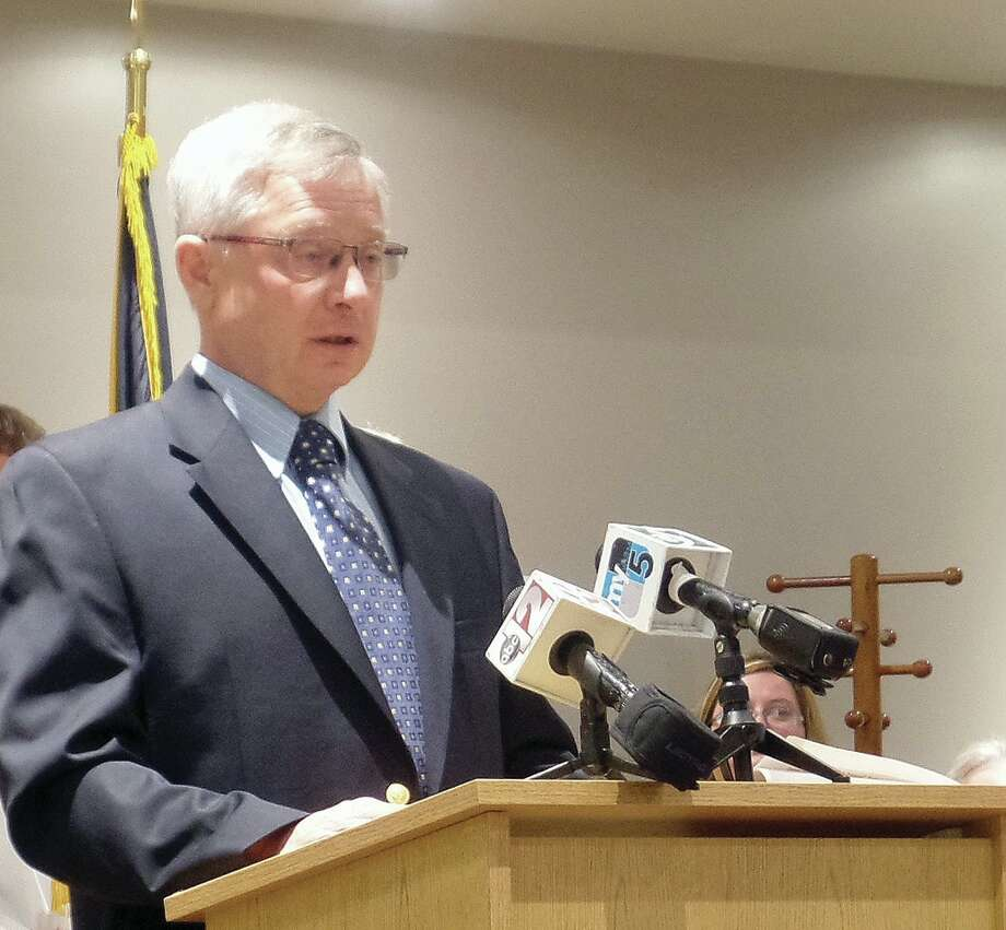 Tuscola County Controller Mike Hoagland host a press conference. / Copyright 2012