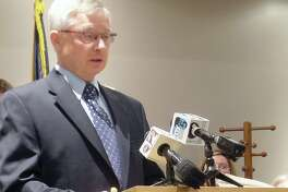Tuscola County Controller Mike Hoagland host a press conference.