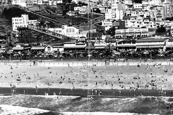 Playland at the Beach and Skateland. San Francisco's Ocean Beach.   October 23, 1953
