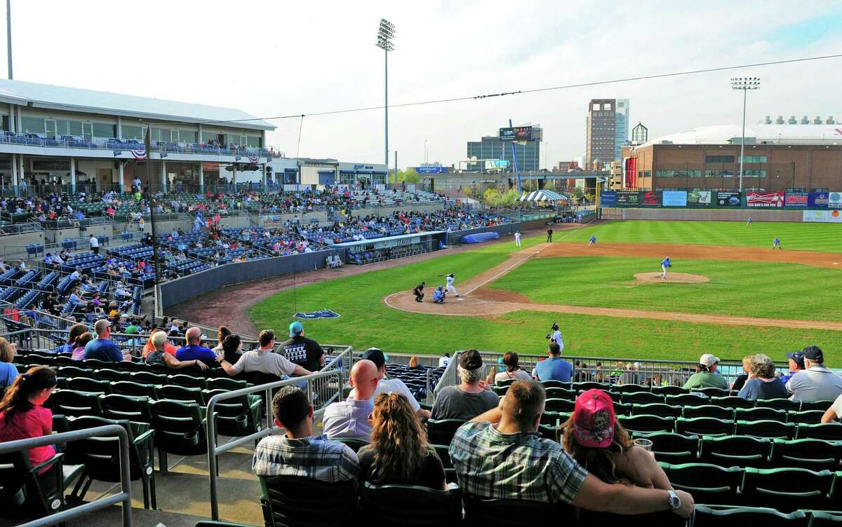 Opening day of Bluefish baseball at the Ballpark at Harbor Yard in Bridgeport, Conn., on Friday April 28, 2017.