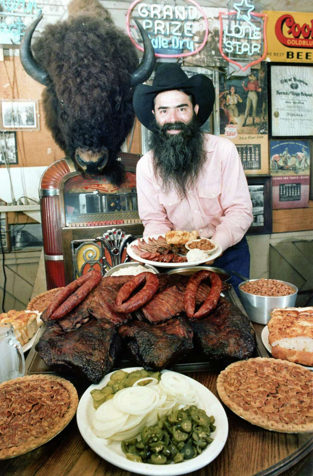Clockwise from left: Houston's Goode Co. Barbeque, founded by the late Jim Goode, has made Texas Monthly's best-barbecue list multiple times; Thelma's Bar-B-Que, which serves beef brisket, made the magazine's list in 2003; Steve Burns prepares the MLB Special, slabs of ribs and beef, at Burns Bar-B-Q, also recognized by Texas Monthly.