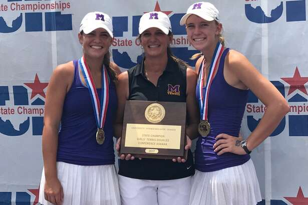The Midland High girls doubles team of Allison Stewart, right, and Kate Daugherty, right, pose with coach Carmen Stewart, center, after being presented with Class 6A state championship plaque on Friday at Texas A&M's George P. Mitchell Tennis Center. The doubles team won the Class 6A girls doubles title in three sets over a team from Houston Cypress Falls. Courtesy photo