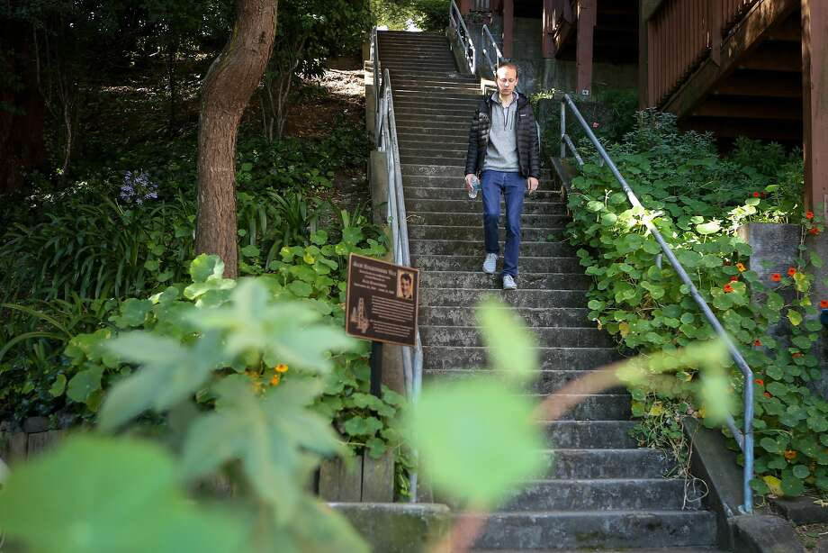 Quentin de Coster walks down the Carolina Street steps, named for Potrero Hill historian Jack Balestreri. Photo: Amy Osborne, Special To The Chronicle