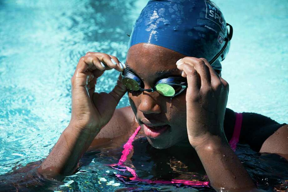 Rio Olympics gold medalist Simone Manuel was in town recently to give lessons and promote learn-to-swim programs for USA Swimming. Photo: Marie D. De Jesus, Staff / © 2017 Houston Chronicle