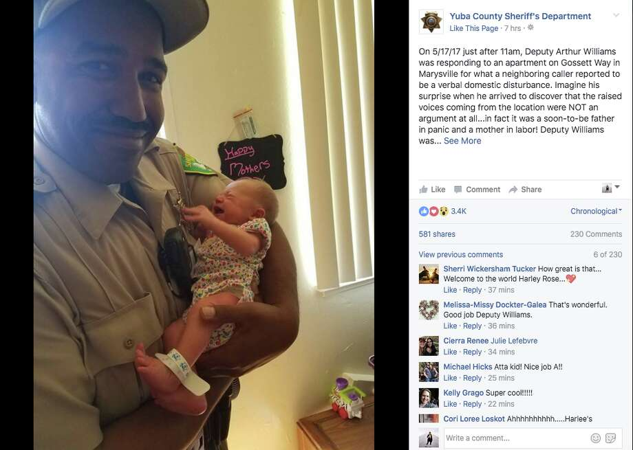 Yuba County Sheriff's Deputy Arthur Williams thought he was responding to a domestic disturbance call. He ended up delivering a baby.