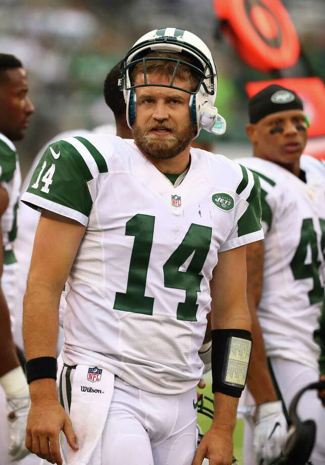 EAST RUTHERFORD, NJ - OCTOBER 02:  Ryan Fitzpatrick #14 of the New York Jets looks on at the end of a 27-17 loss against the Seattle Seahawks at MetLife Stadium on October 2, 2016 in East Rutherford, New Jersey.  (Photo by Al Bello/Getty Images) ORG XMIT: 659209037 Photo: Al Bello / 2016 Getty Images