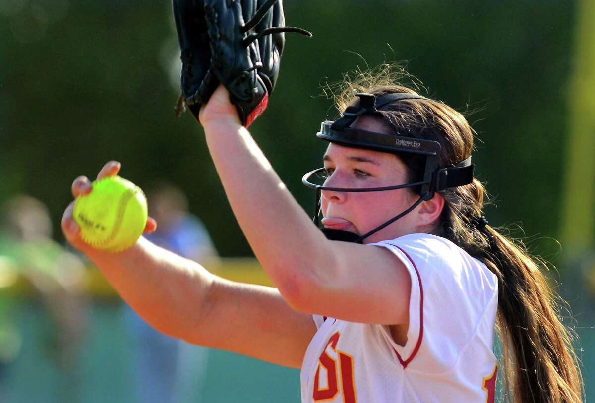 St. Joseph's pitcher Payton Doiron delivers to the plate against Trumbull on Friday.