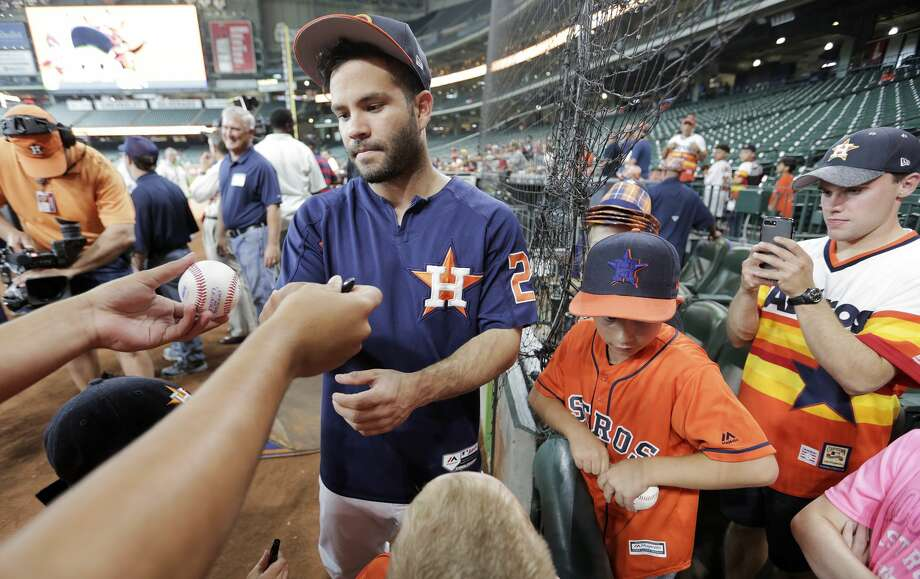 PHOTOS: A look at the promotional giveaways left on the Astros' scheduleHouston Astros second baseman Jose Altuve (27) signs autographs for fans before the Houston Astros hosts the Cleveland Indians in the first of a four-game series on Friday, May 19, 2017, in Houston. ( Elizabeth Conley / Houston Chronicle )Browse through the photos to see the giveaways still left on the Astros' regular season schedule. Photo: Elizabeth Conley/Houston Chronicle