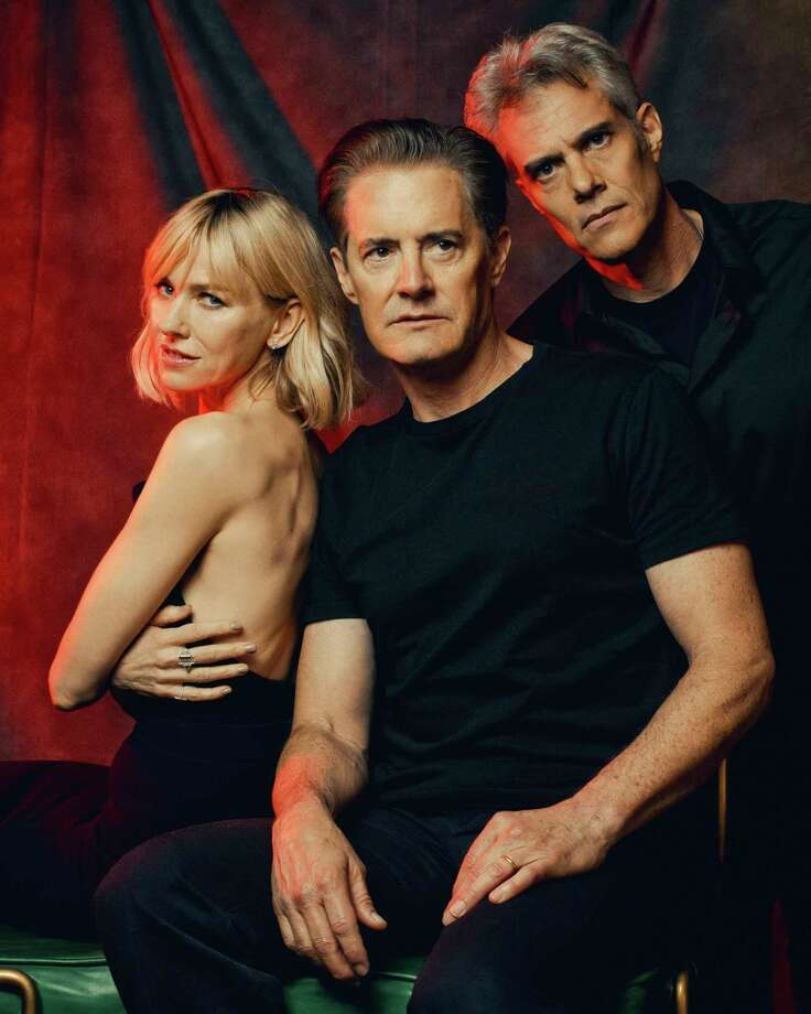 "From left: Naomi Watts, Kyle MacLachlan and Dana Ashbrook, who appear in the upcoming revival of ""Twin Peaks,"" in New York, April 27, 2017. For ""Twin Peaks"" fans and creators alike, there was always an absence of closure, even as the show acquired a cachet for ushering the avant-garde and a host of other influences into the DNA of mainstream television. (Ryan Pfluger/The New York Times) ORG XMIT: XNYT120 Photo: RYAN PFLUGER / NYTNS"
