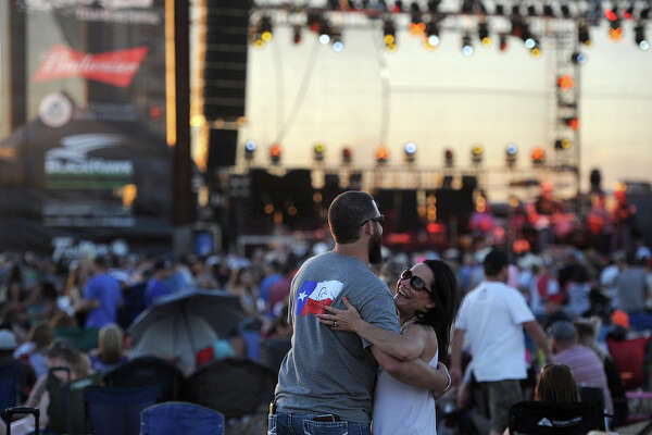 Brian Adams and Carri Welden dance during the Crudefest country music festival May 19, 2017.  The pair traveled from Houston for the even, which is Welden's first concert.  James Durbin/Reporter-Telegram