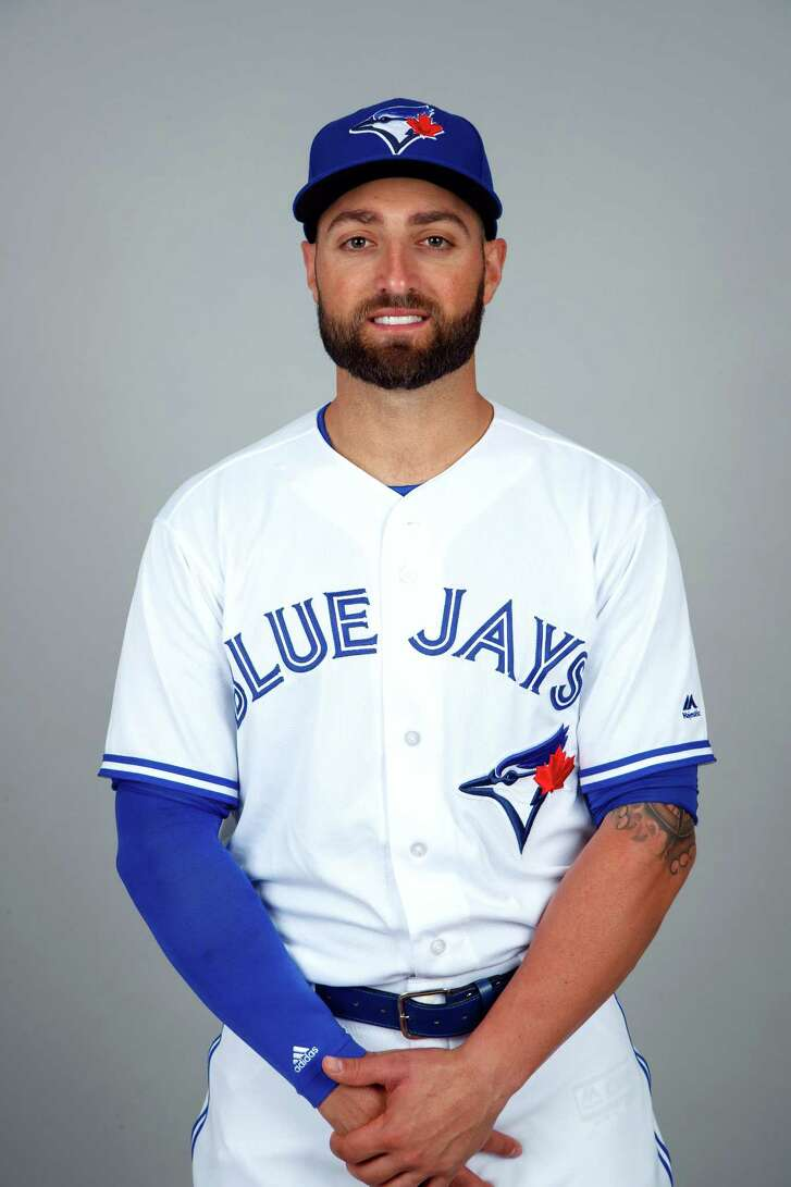 DUNEDIN, FL - FEBRUARY 21: Kevin Pillar #11 of the Toronto Blue Jays poses during Photo Day on Tuesday, February 21, 2017 at Florida Auto Exchange Stadium in Dunedin, Florida.  (Photo by Mike Carlson/MLB Photos via Getty Images) *** Local Caption *** Kevin Pillar