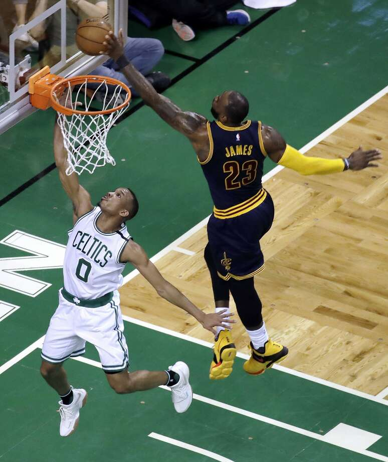 Cleveland Cavaliers forward LeBron James, right, blocks a shot by Boston Celtics guard Avery Bradley during the first half of Game 2 of the NBA basketball Eastern Conference finals, Friday, May 19, 2017, in Boston. (AP Photo/Elise Amendola) Photo: Elise Amendola, Associated Press
