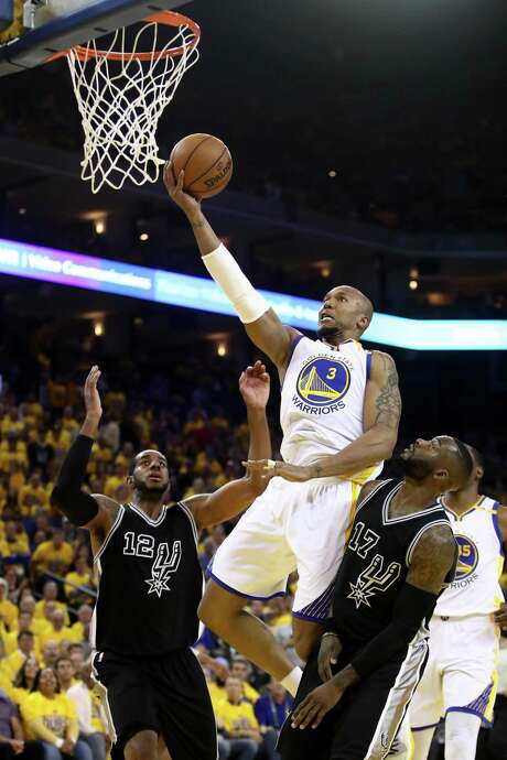 OAKLAND, CA - MAY 16:  David West #3 of the Golden State Warriors goes up for a shot against the San Antonio Spurs during Game Two of the NBA Western Conference Finals at ORACLE Arena on May 16, 2017 in Oakland, California. NOTE TO USER: User expressly acknowledges and agrees that, by downloading and or using this photograph, User is consenting to the terms and conditions of the Getty Images License Agreement.  (Photo by Ezra Shaw/Getty Images) Photo: Ezra Shaw / Getty Images / 2017 Getty Images