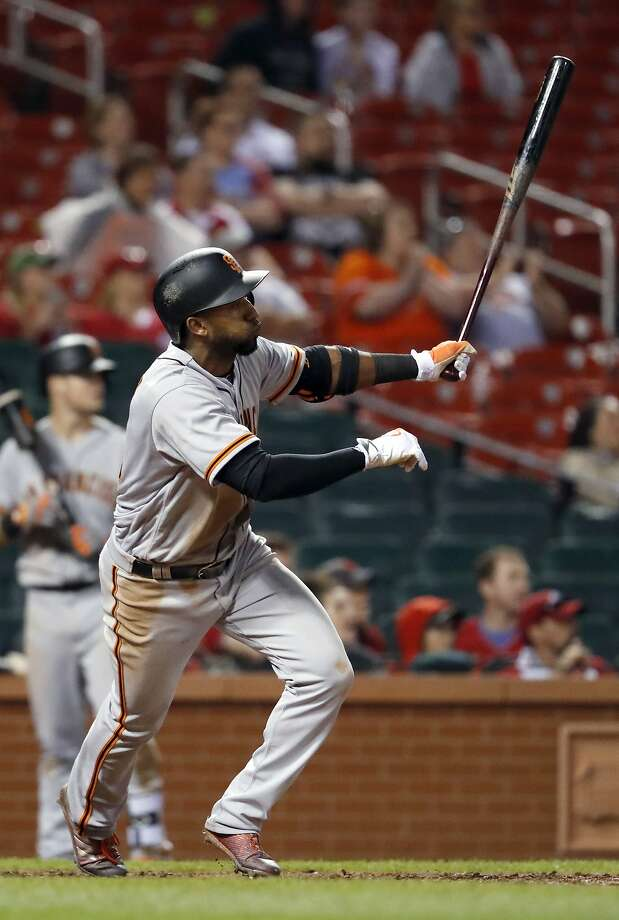 San Francisco Giants' Eduardo Nunez watches his two-run double during the ninth inning of a baseball game against the St. Louis Cardinals on Friday, May 19, 2017, in St. Louis. (AP Photo/Jeff Roberson) Photo: Jeff Roberson, Associated Press