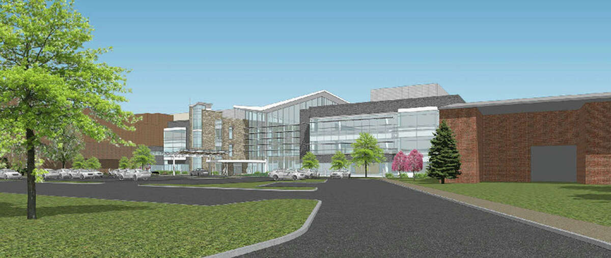 This rendering shows the proposed cardiovascular center's south entrance.