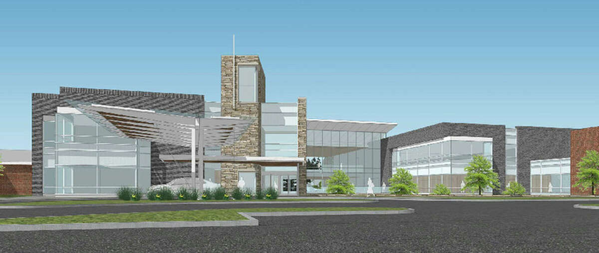 This rendering shows the proposed cardiovascular center's north entrance.