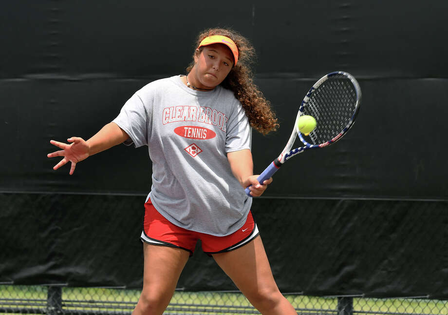 Clear Brook's Maria Herrera, who teamed with Andres Padilla, works for a point on the baseline against Cy Ranch's Cy Ranch's Melissa LaMette and Varun Thachil during their Class 6A Mixed Doubles match at the UIL State Tennis Championships at Texas A&M University in College Station on Friday, May 19, 2017. (Photo by Jerry Baker/Freelance) Photo: Jerry Baker, Freelance / Freelance