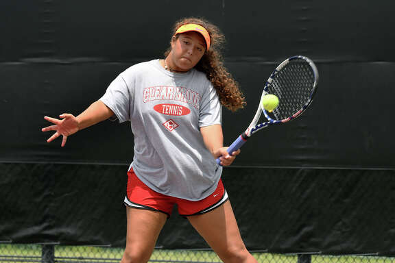 Clear Brook's Maria Herrera, who teamed with Andres Padilla, works for a point on the baseline against Cy Ranch's Cy Ranch's Melissa LaMette and Varun Thachil during their Class 6A Mixed Doubles match at the UIL State Tennis Championships at Texas A&M University in College Station on Friday, May 19, 2017. (Photo by Jerry Baker/Freelance)