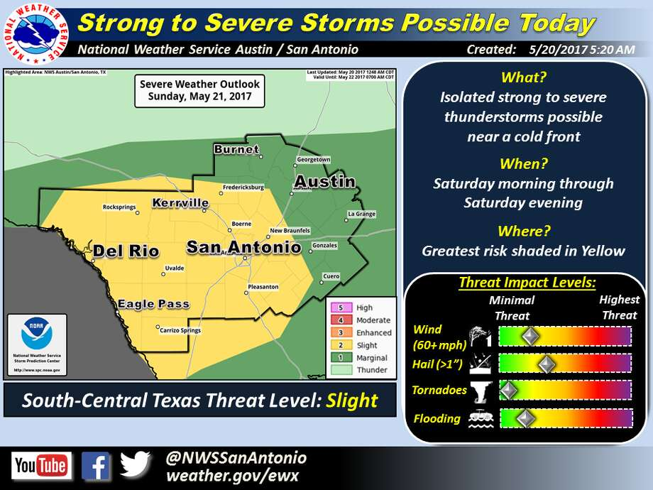 A line of storms is expected to push eastward through the San Antonio area Saturday, carrying the likelihood of some severe weather during the afternoon, the National Weather Service said. Photo: Courtesy/National Weather Service