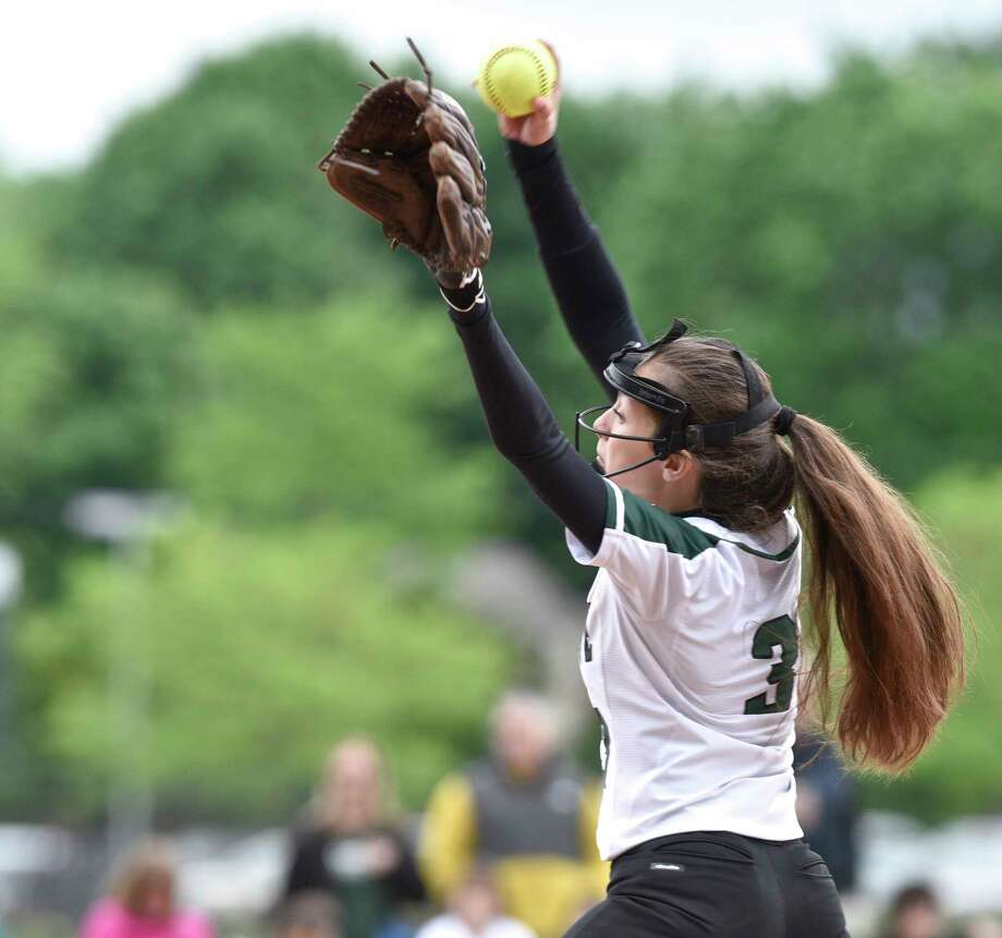 New Milford's Victoria Pascento (3) pitches in the SWC Softball playoff game between Newtown (6) and New Milford (3) on Saturday morning, May 20, 2017, at New Milford High School, in New Milford, Conn. Photo: H John Voorhees III, Hearst Connecticut Media / The News-Times