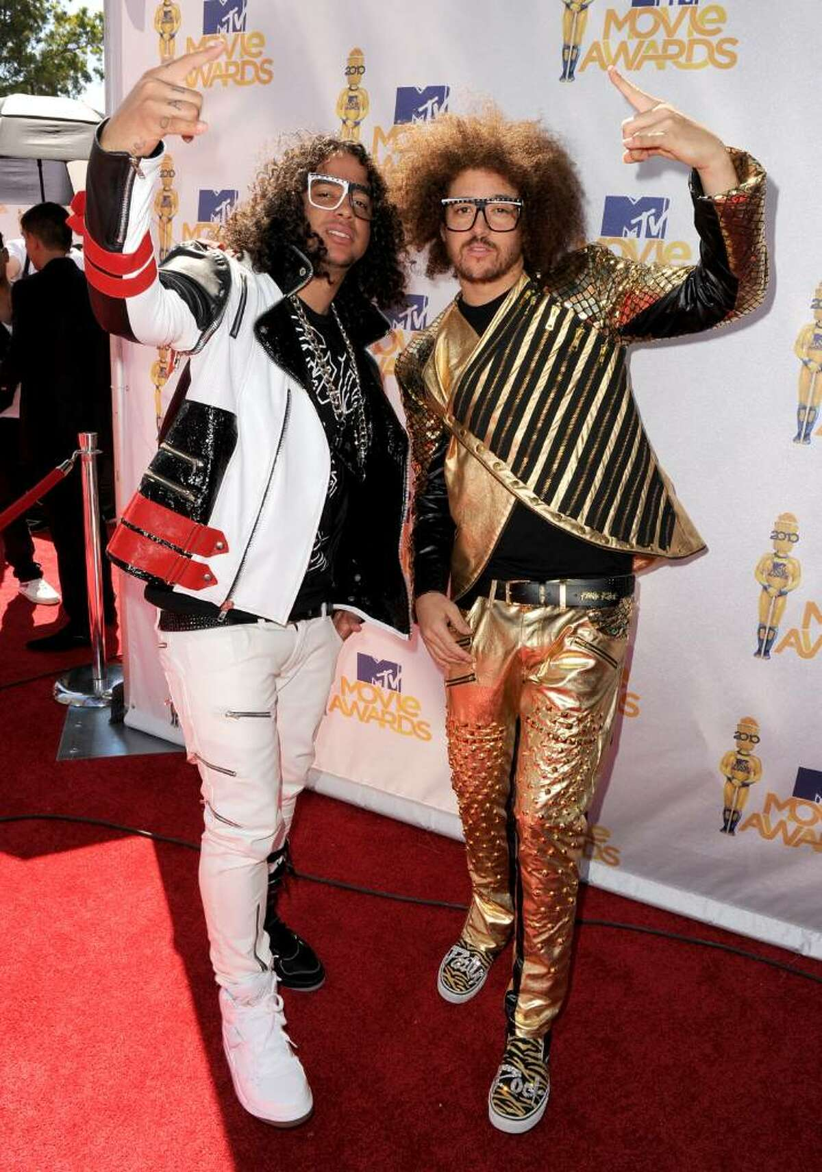 UNIVERSAL CITY, CA - JUNE 06: Sky Blu (L) and Redfoo of LMFAO arrive at the 2010 MTV Movie Awards held at the Gibson Amphitheatre at Universal Studios on June 6, 2010 in Universal City, California. (Photo by Kevin Winter/Getty Images) *** Local Caption *** Redfoo;Sky Blu