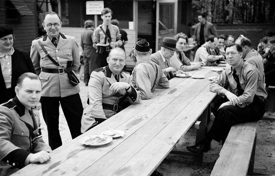 Members of the German American Bund gather in 1938 at Camp Siegfried on Long Island in Yaphank, N.Y. Photo: Associated Press