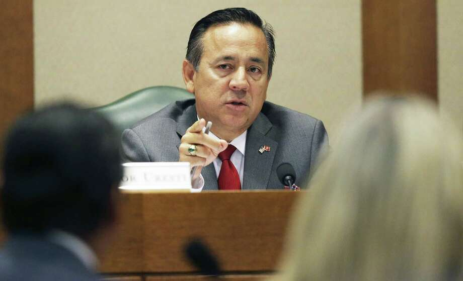 State Sen. Carlos Uresti hears testimony as he sits on the Education Committee at the Texas Capitol on Thursday, a day after being arrested on federal fraud and bribery charges. Photo: Tom Reel /San Antonio Express-News / 2017 SAN ANTONIO EXPRESS-NEWS