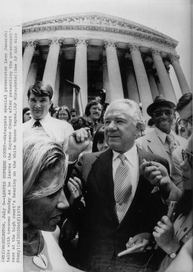 Watergate special prosecutor Leon Jaworski is seen in July 1974 after a Supreme Court hearing. / AP Wirephoto