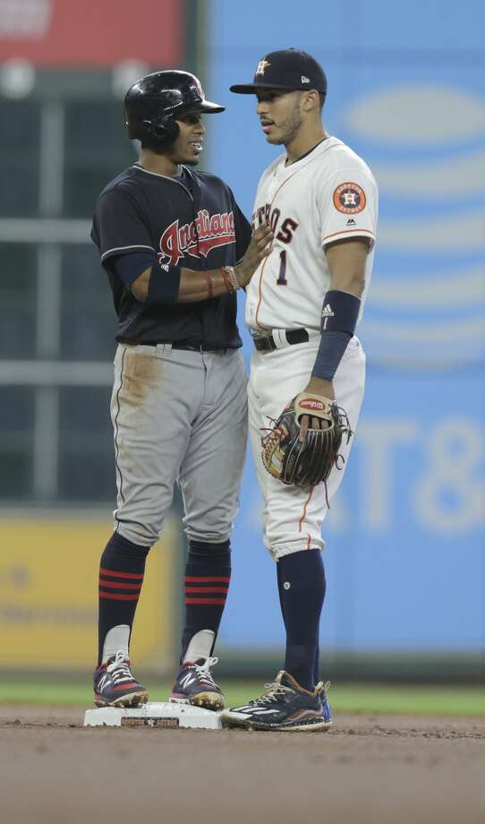 Astros' shortstop Carlos Correa has overtaken Cleveland's Francisco Lindor for first place in AL All-Star voting at their position. Photo: Elizabeth Conley/Houston Chronicle