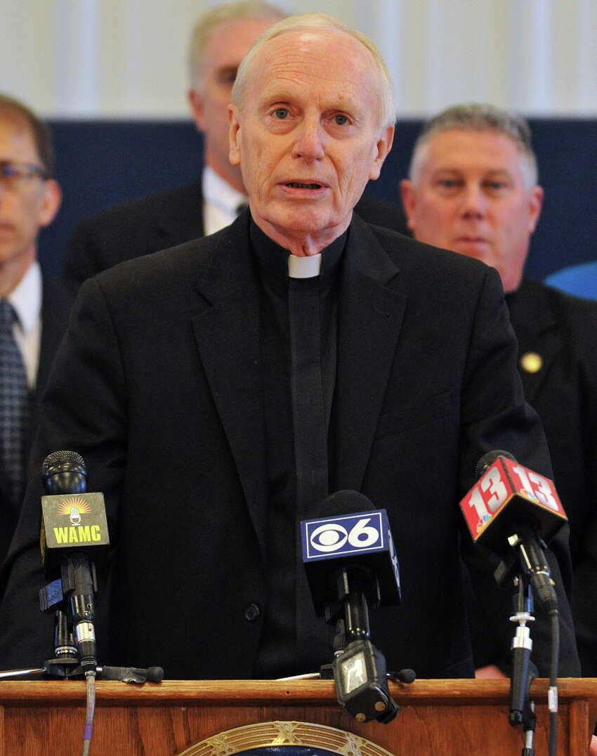 Bishop Emeritus Howard Hubbard, founder of Hope House in Albany, speaks about how the heroin problem has changed since 1960s when he first opened the home on Friday, April 15, 2016, during a press conference at the Hope House in Albany, N.Y. Today, he sees no socio-ecomic category that heroin users fall into, unlike in the 1960s when it was mainly minorities. He sees people begin their addiction when their perception medication for pain runs out, and asks for guidelines written by the Center for Disease Control for prescribing pain medication for acute pain. (Brittany Gregory / Special to the Times Union)