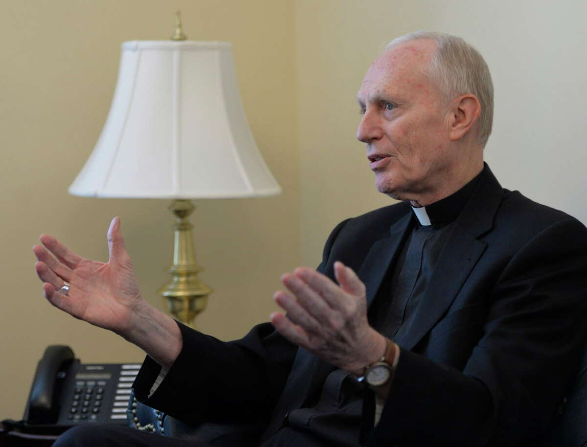 Bishop Howard Hubbard speaks to the Times Union on his last official day as the Bishop of the Albany Diocese Wednesday afternoon April 9, 2014, in his new office at the Pastoral Center in Albany, N.Y. (Skip Dickstein / Times Union)