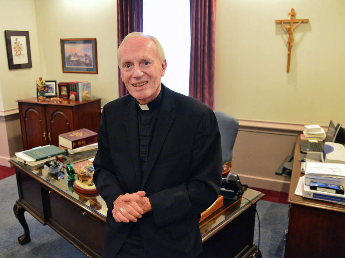 Bishop Howard Hubbard his pictured in his office Wednesday, Sept. 11, 2013, at the Albany Diocese Pastoral Center in Albany, NY. (John Carl D'Annibale / Times Union)