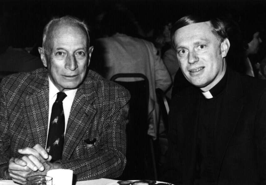 ERASTUS CORNING II--Mayor of Albany, left, with Bishop Howard Hubbard (no date) --15-- loucks