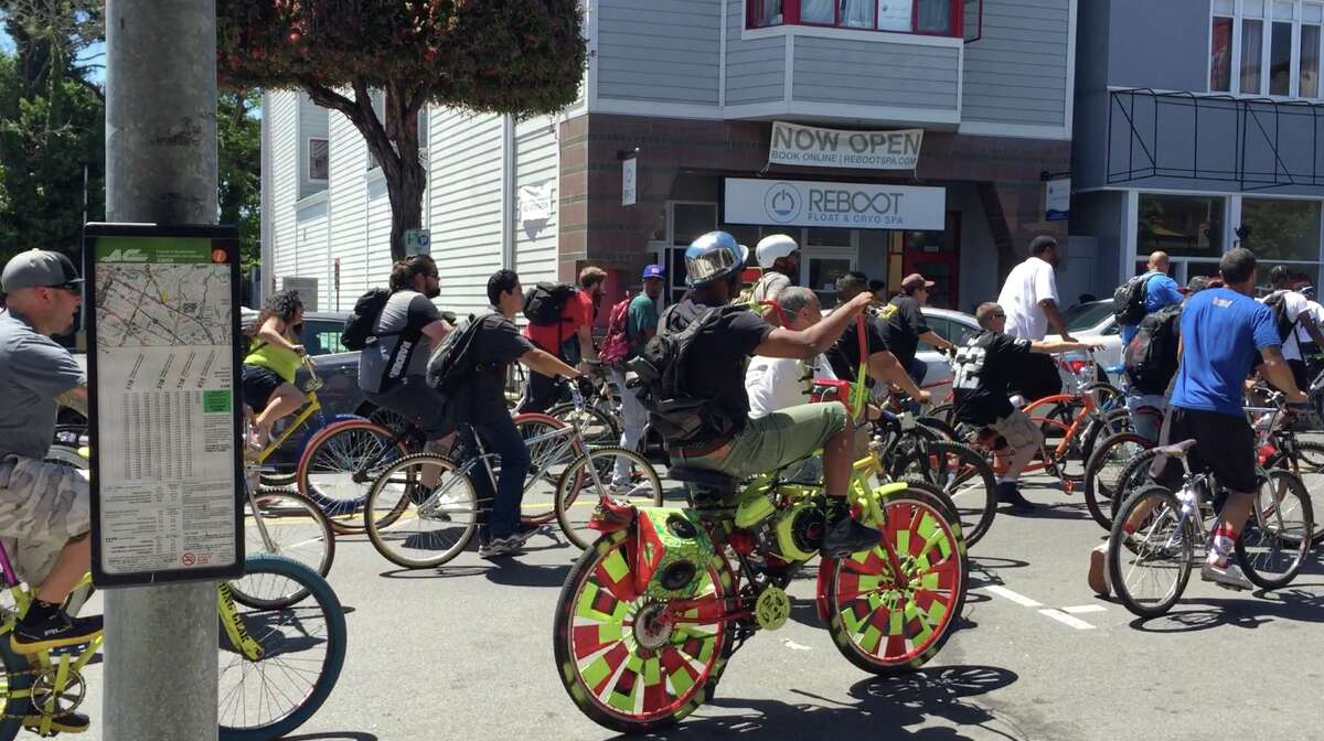 Hundreds of cyclists trailed Marshawn Lynch down the streets of Oakland and Berkeley on Saturday, May 20.