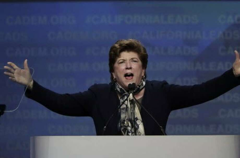 Delaine Eastin speaks at the California Democrats 2017 State Convention in Sacramento. Photo: Paul Kuroda, Special To The Chronicle
