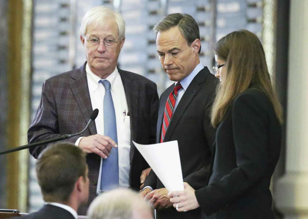 House Speaker Joe Straus hears a point of order made which caused a postponement of property tax legislation on the floor of the House at the Texas Capitol on May 18, 2017.property tax legislation is considered on the floor of the House at the Texas Capitol on May 18, 2017. Representative Charlie Geren, R-Fort Worth stands with the speaker .