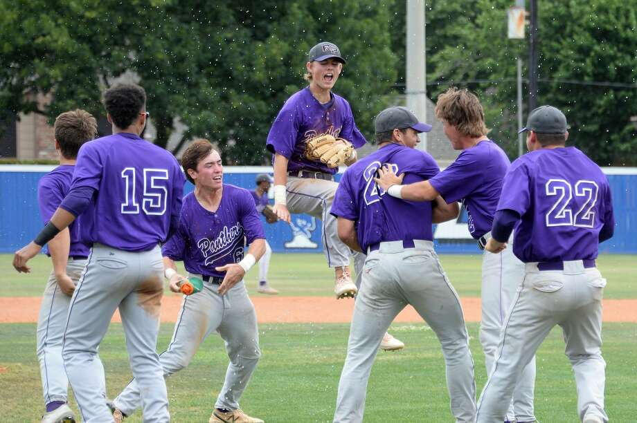 Ridge Point players celebrate their 8-3 victory over the Cy Ranch Mustangs in game 3 of a 6A Region III quarterfinal baseball playoff series on Saturday May 20, 2017 at Katy Taylor HS, Katy, TX. Photo: Craig Moseley/Houston Chronicle
