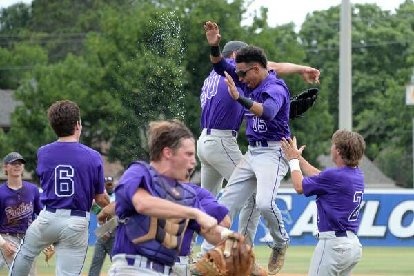 Ridge Point players celebrate their 8-3 victory over the Cy Ranch Mustangs in game 3 of a 6A Region III quarterfinal baseball playoff series on Saturday May 20, 2017 at Katy Taylor HS, Katy, TX.
