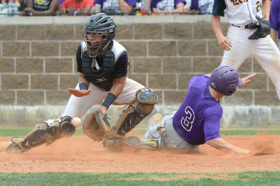 Parker Wayne (3) of Ridge Point scores in the fifth inning during game 3 of a 6A Region III quarterfinal baseball playoff series between the Ridge Point Panthers and the Cy Ranch Mustangs on Saturday May 20, 2017 at Katy Taylor HS, Katy, TX.