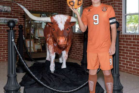 Sabino Lopez of the Dobie Longhorns is the Houston Chronicle's All-Greater Houston Boys Soccer Player of the Year and poses for a photo at Dobie High School in Houston Texas on Thursday, May 4, 2017.