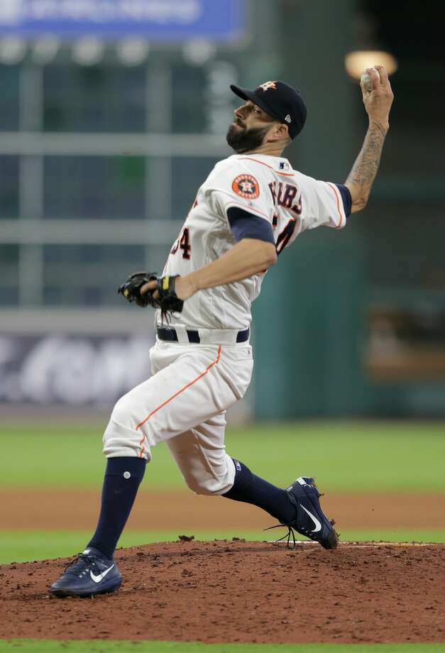 Houston Astros relief pitcher Luke Gregerson (44) pitches in the fifth inning against Cleveland Indians  on Saturday, May 20, 2017, in Houston. Cleveland won the game 3-0.( Elizabeth Conley / Houston Chronicle ) Photo: Elizabeth Conley/Houston Chronicle