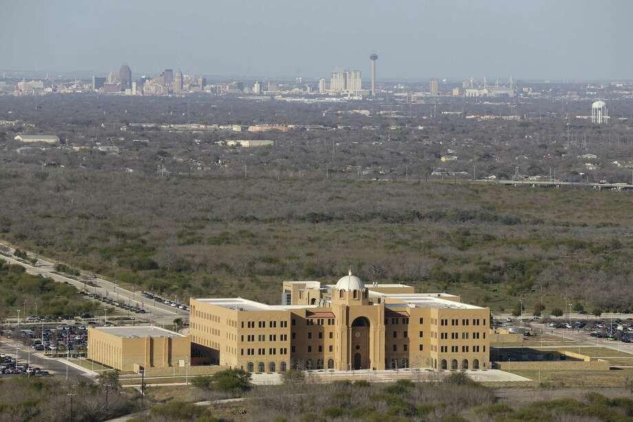 The San Antonio skyline is visible from the Texas A&M University-San Antonio campus in south San Antonio, Thursday, Feb. 18, 2016. Photo: JERRY LARA, Staff / San Antonio Express-News / © 2016 San Antonio Express-News