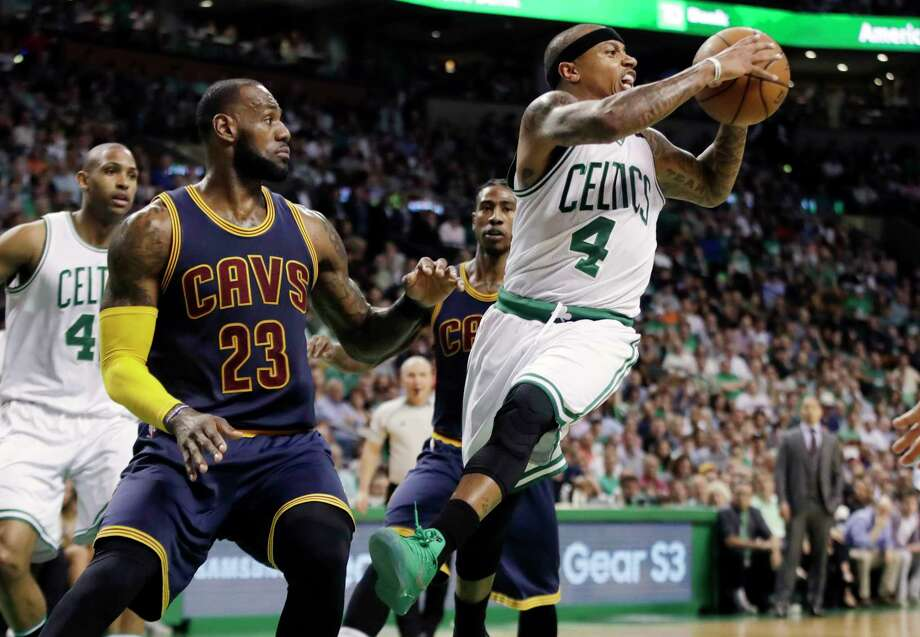 The path to the NBA Finals got a little easier for LeBron James, left, and the Cavaliers after the news that Celtics star guard Isaiah Thomas, right, will miss the rest of the playoffs because of a hip injury. Photo: Elise Amendola, STF / Copyright 2017 The Associated Press. All rights reserved.