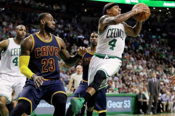 The path to the NBA Finals got a little easier for LeBron James, left, and the Cavaliers after the news that Celtics star guard Isaiah Thomas, right, will miss the rest of the playoffs because of a hip injury.
