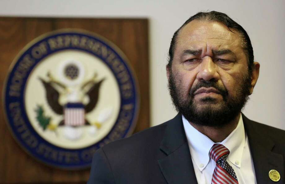 In this Monday, May 15, 2017 photo, Congressman Al Green speaks to media during a press conference in which he called for the impeachment of President Donald Trump at the Houston Congressional District Office in Houston.  The black Texas congressman said Saturday, May 20, that he's been threatened with lynching by callers infuriated over him seeking impeachment of President Trump. (Godofredo A. Vasquez/Houston Chronicle via AP) Photo: Godofredo A. Vasquez, MBO / Godofredo A. Vasquez