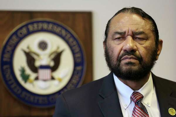 In this Monday, May 15, 2017 photo, Congressman Al Green speaks to media during a press conference in which he called for the impeachment of President Donald Trump at the Houston Congressional District Office in Houston.  The black Texas congressman said Saturday, May 20, that he's been threatened with lynching by callers infuriated over him seeking impeachment of President Trump. (Godofredo A. Vasquez/Houston Chronicle via AP)