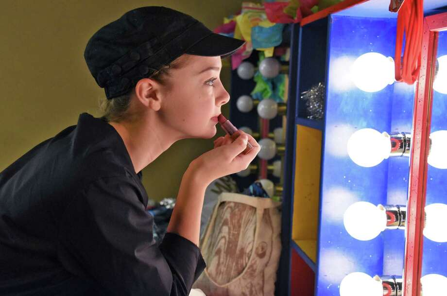 Ellie Whiteman of Voorheesville High touches up her make-up before dress rehearsal for first-ever High School Musical Theater Awards show at Proctor's Saturday May 20, 2017 in Schenectady, NY.  (John Carl D'Annibale / Times Union) Photo: John Carl D'Annibale / 20040528A