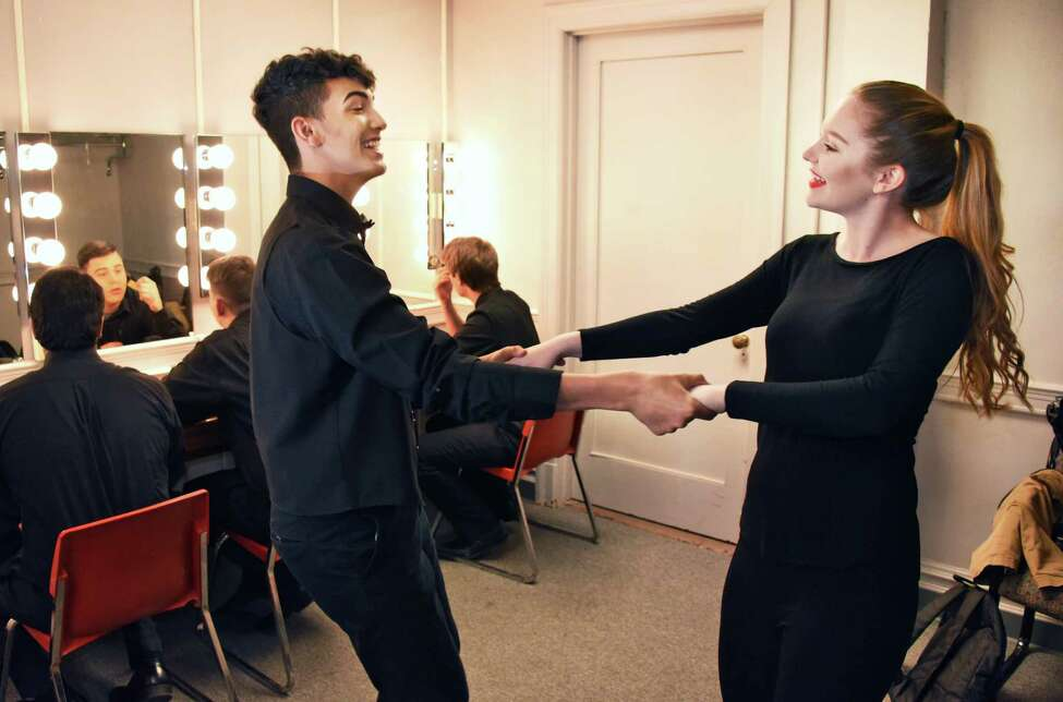 Hudson Falls High's Vinnie Canale-Rouse and Katie Makarick practice dance steps in their dressing room before dress rehearsal for first-ever High School Musical Theater Awards show at Proctor's Saturday May 20, 2017 in Schenectady, NY. (John Carl D'Annibale / Times Union)